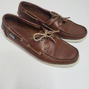 Sebago Dockside loafers lace up brown boat shoe
